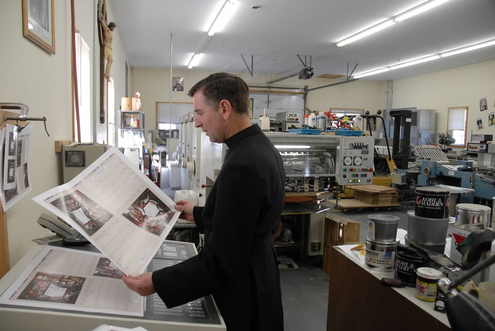 A Brother in the monastery printshop.