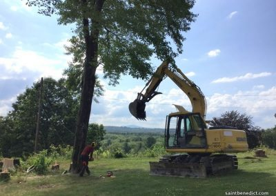 Clearing the area where IHM School will expand.