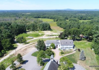 Aerial view of IHM Chapel and School, Still River MA.