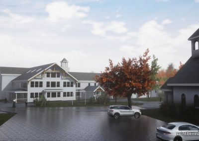 IHM School Expansion rendering showing school and Chapel.
