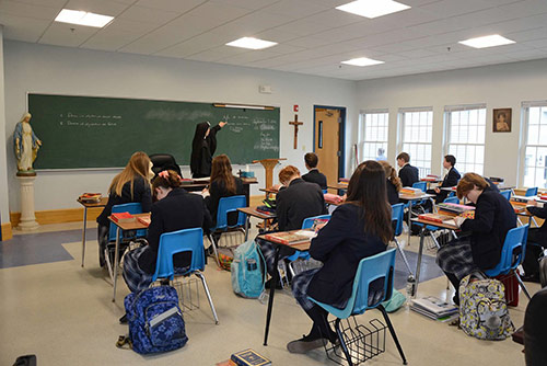 A high school classroom in MacIsaac Hall.