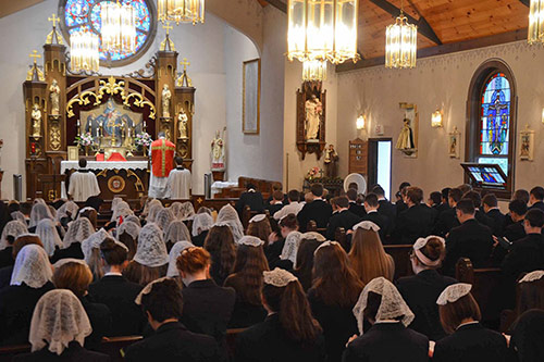 Students and faculty attend daily Latin Mass.
