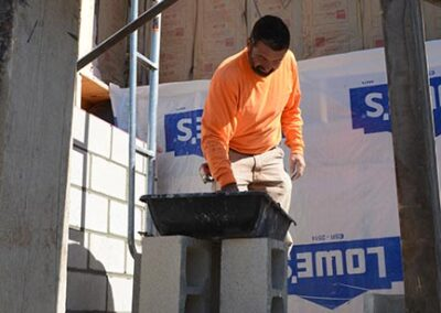 Laying block for elevator shaft.