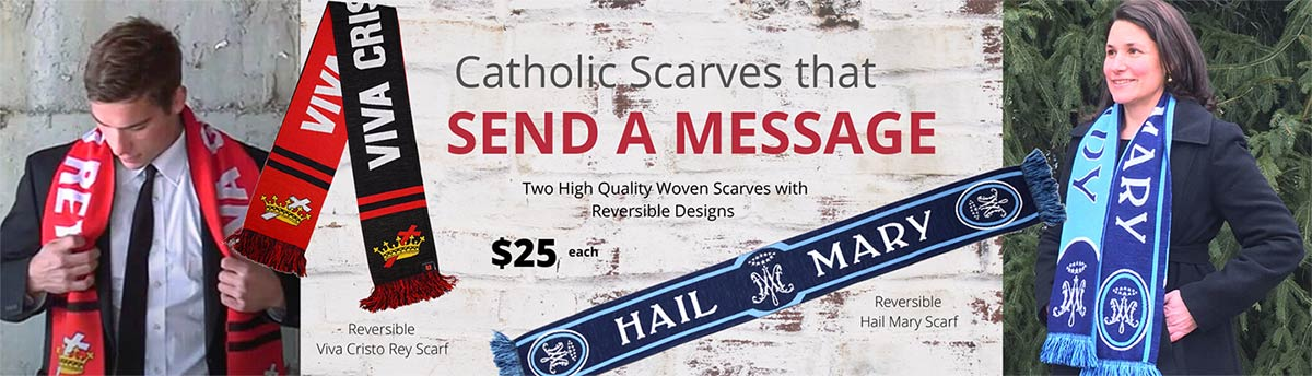 Shop our Knit Scarves with bold Catholic designs