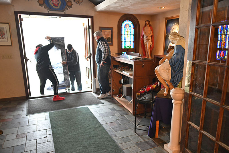 A new organ is delivered to IHM Chapel in memory of Rita Rose.
